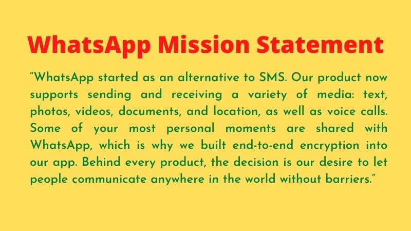whatsapp mission statement in a image