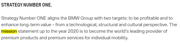 BMW's mission statement Screenshot from the official webpage